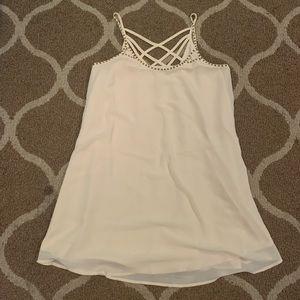 Cream Beaded Detailed Tank Dress